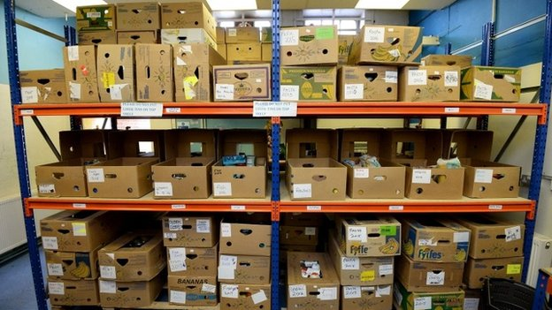 Boxes at a food bank
