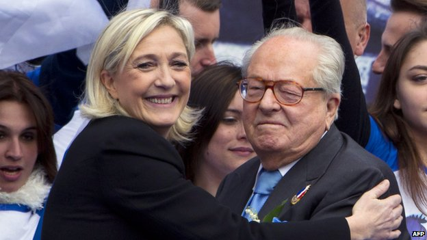 Marine and Jean-Marie Le Pen at 1 May rally in Paris