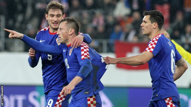 Nikica Jelavic, Ivica Olic and Dejan Lovren