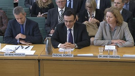 AstraZeneca boss Pascal Soriot and fellow executives giving evidence
