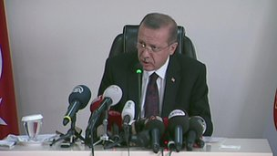 Recep Tayyip Erdogan speaks at a news conference