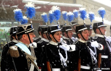 The Corps of Gendarmerie of San Marino during a state visit by Prince Albert of Monaco State on 10 March 2010