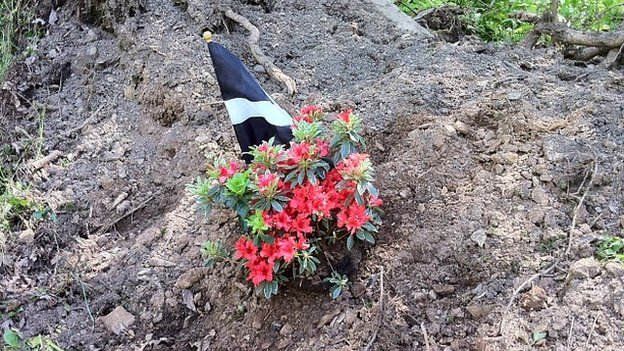 Flowers and a Cornish flag have been left at the crash site