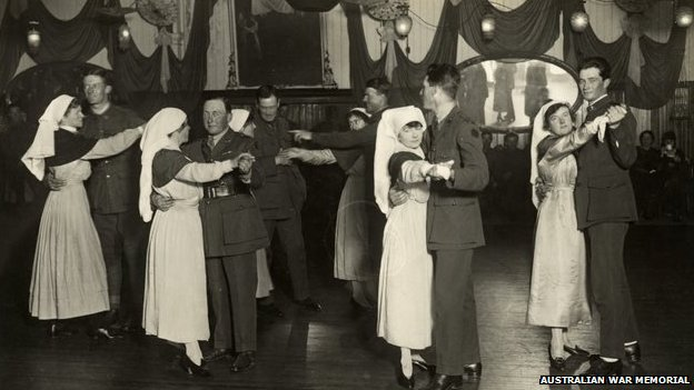 Anzac soldiers at dances at the YMCA in Weymouth