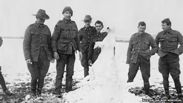 Anzac soldiers in the snow