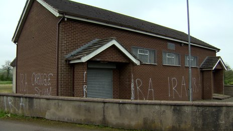 The graffiti was sprayed on Fourscore Orange Hall, near Glenavy.