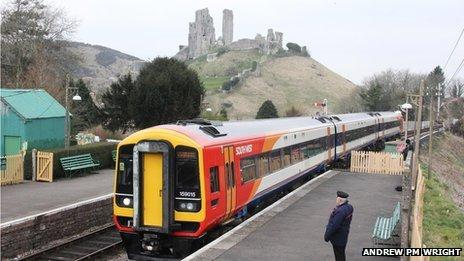SouthWest Trains train at Corfe Castle