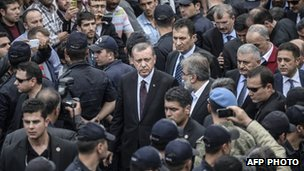 Recep Erdogan visiting the mine.
