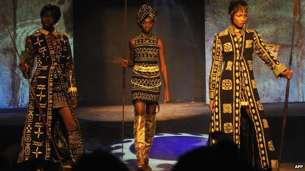 A model presents a creation by designer Kofi Ansah, during the Festival for African Fashion and Arts fashion show in April 2009 in Nairobi, Kenya