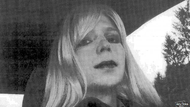 US Army Private First Class Chelsea Manning is pictured dressed as a woman in this 2010 photograph obtained from the US Army