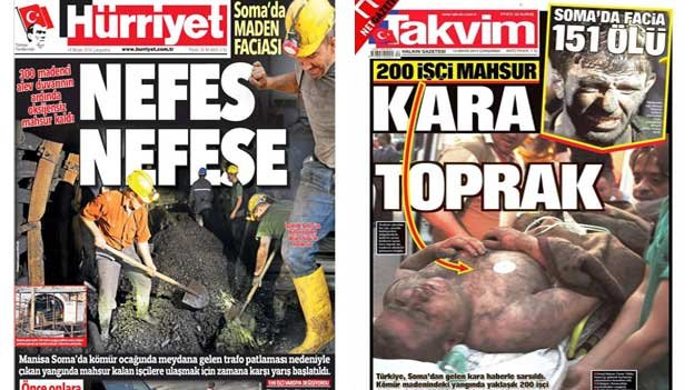 Front pages of Hurriyet and Takvim