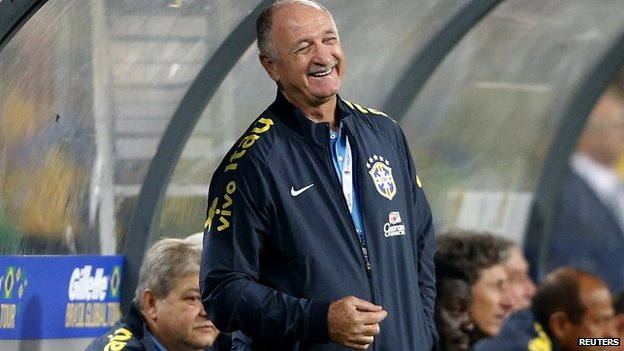 Luiz Scolari during Brazil's friendly against South Africa in Johannesburg - 5 March 2014