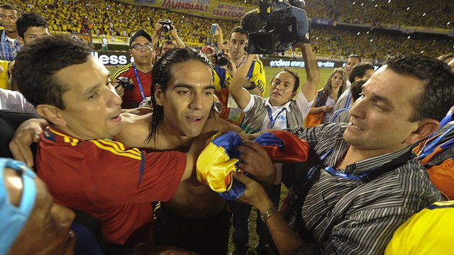 Colombia's Radamel Falcao celebrates with his team-mates