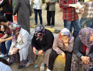 Relatives in the grounds of Soma hospital, western Turkey, 14 May