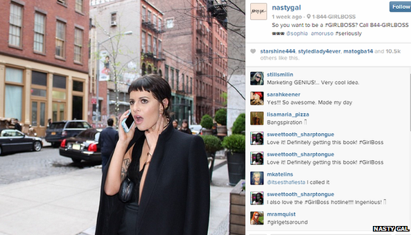Screenshot of Nasty Gal instagram