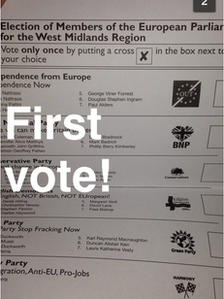 Voter's photo of ballot paper with words First vote!