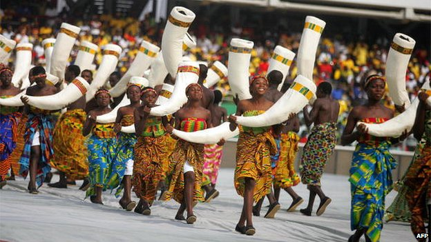 Dancers perform in January 2008 during the opening ceremony of the African Nations Cup in Ghana