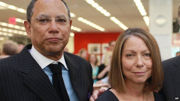 Jill Abramson and Dean Baquet stand in the New York Times newsroom in June 2011.