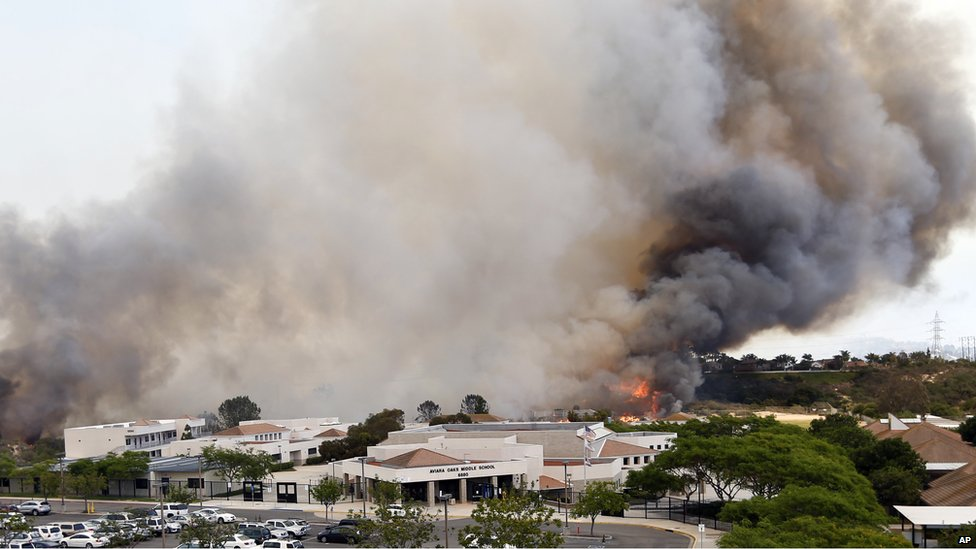 A wildfire burned in Carlsbad, California, on 14 May 2014