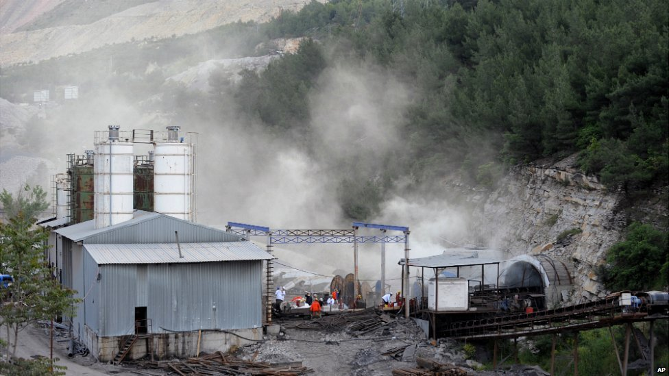 The main entrance of the coal mine in Soma, Turkey, Wednesday, May 14, 2014