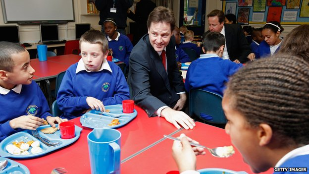 Nick Clegg in a school dining hall