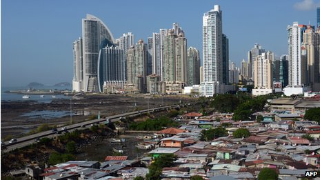High rise towers in Panama City overlook a major slum area