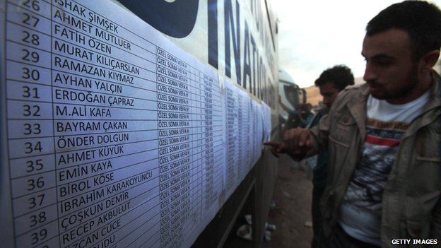 Checking the names of survivors in Soma on 15 May 2014