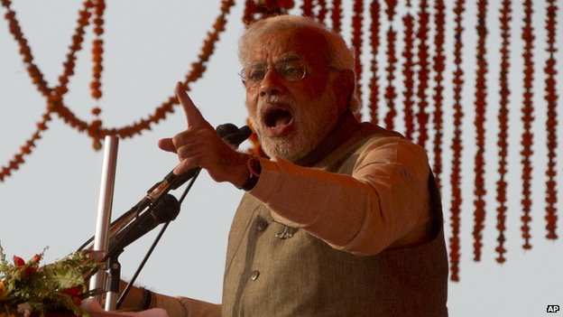 the BJP's Narendra Modi at an election rally
