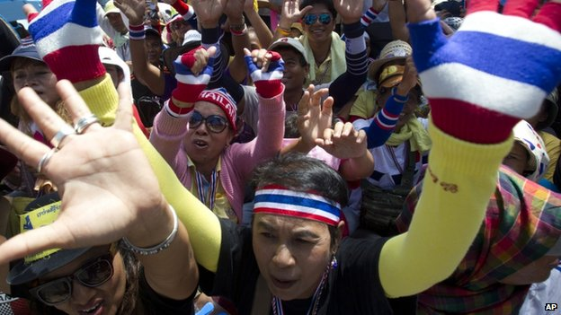 Anti-government protesters gather outside the Air Force Academy compound in Bangkok, Thailand Thursday 15 May 2014