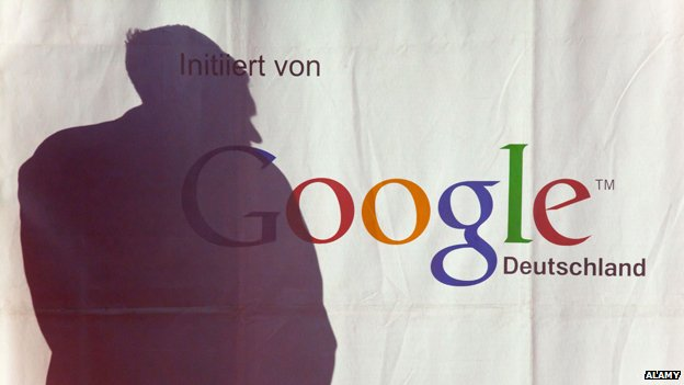 "Shadow falls over a banner saying ""Google Deutschland"""