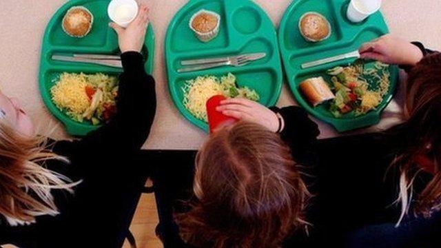 Girls eating school meals