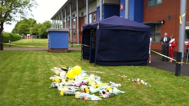 Flowers outside school