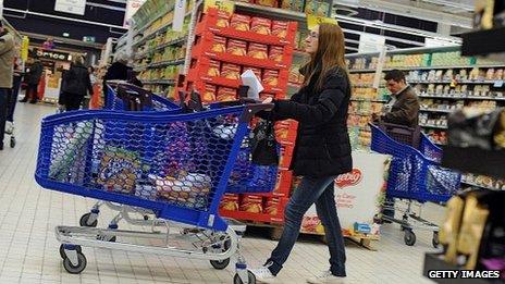 Woman pushing supermarket