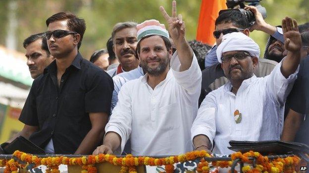 Rahul Gandhi, centre, at an election rally in Varanasi on May 10, 2014