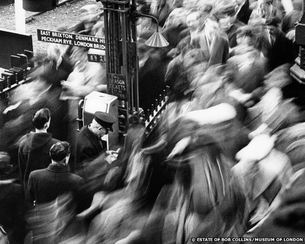 The morning rush hour, Victoria Station, 1960