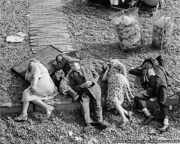 Pensioners asleep on the beach, Brighton, c.1950