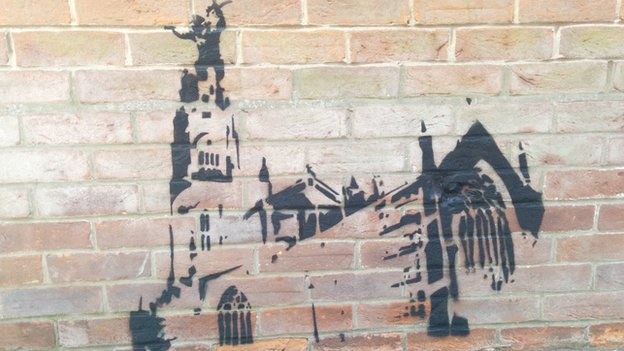 Graffiti on Boston Stump's vicarage