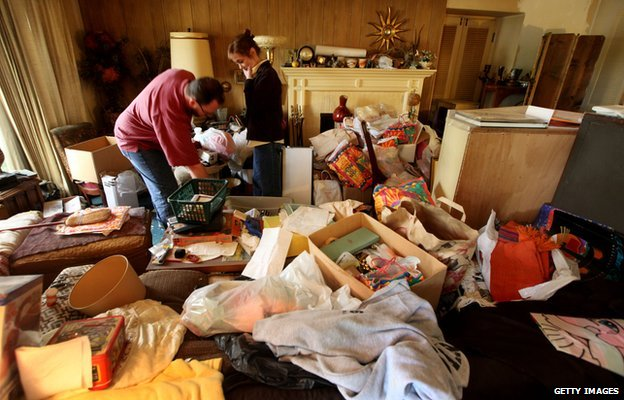 Greg Martin clears his mother's home in 2011, in San Diego, California, after she died