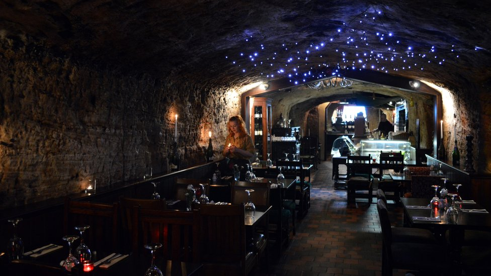 Hand and Heart restaurant in a cave