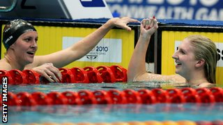 Jazz Carlin celebrates with Rebecca Adlington