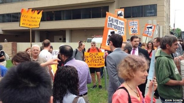 Protesters outside the FCC