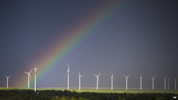 Rainbow over windfarm in Kansas