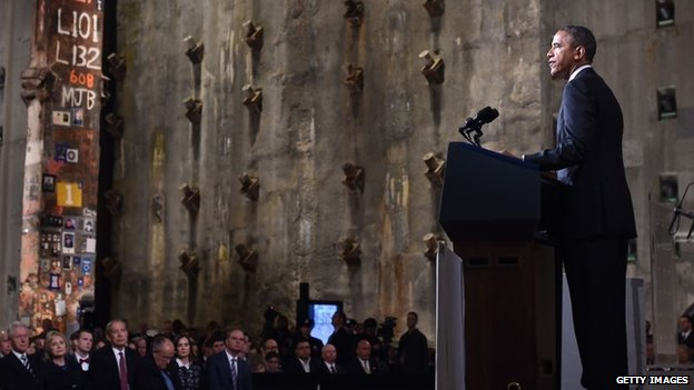 US President Barack Obama speaks during the dedication ceremony at the National September 11 Memorial Museum in New York 15 May 2014