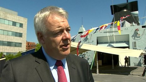 First Minister Carwyn Jones on HMS Dragon