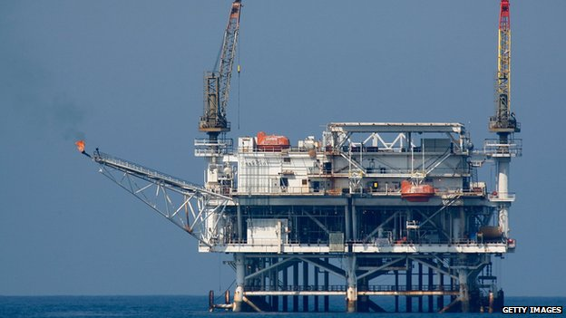 An oil rig platform off the California coast