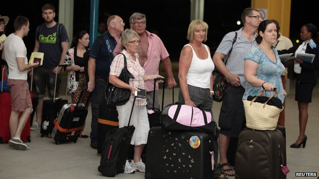 British tourists leaving Moi airport