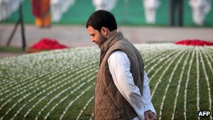 Photograph taken on November 14, 2013, Congress Party Vice-President Rahul Gandhi walks as he pays his respects at Shantivana memorial