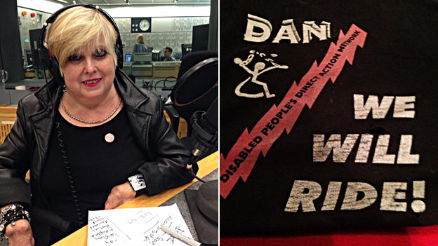 "Two photos: Barbara Lisicki and a DAN t-shirt with the slogan ""We will ride"""