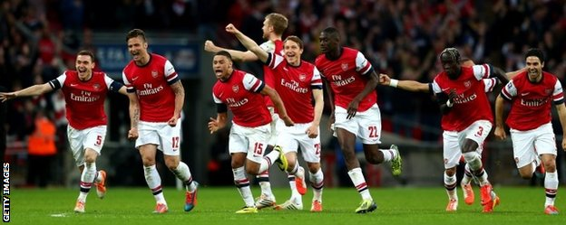 Arsenal celebrate beating Wigan in the FA Cup semi-finals