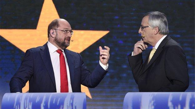 Rivals Martin Schulz (left) and Jean-Claude Juncker, 15 May 14